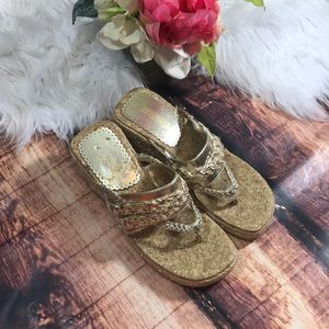 Kenneth Cole Reaction Gold Cork Wedge Sandals